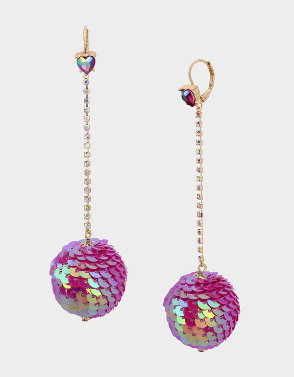 CHEERS SEQUIN BALL EARRINGS FUSCHIA FAB - JEWELRY - Betsey Johnson