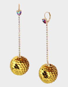 CHEERS SEQUIN BALL EARRINGS GOLD