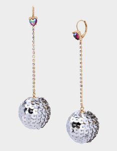 CHEERS SEQUIN BALL EARRINGS SILVER