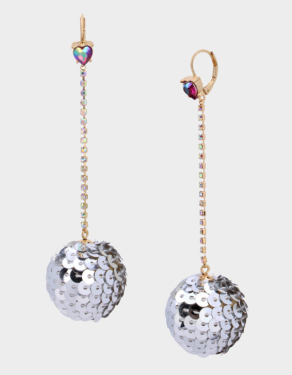 CHEERS SEQUIN BALL EARRINGS SILVER - JEWELRY - Betsey Johnson