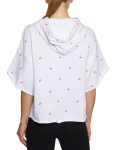 CHERRIES JUBILEE CROPPED SWEATSHIRT WHITE