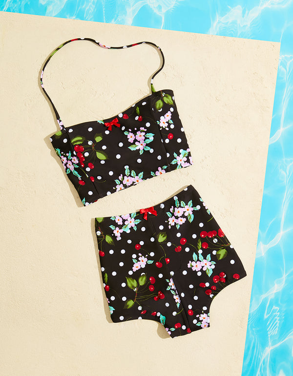CHERRY BOMB BUSTIER TOP BLACK - APPAREL - Betsey Johnson