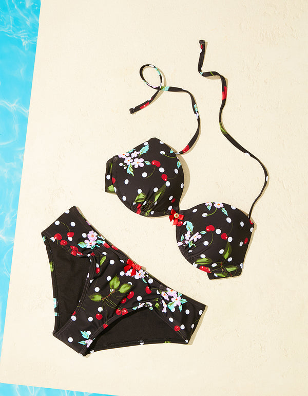 CHERRY BOMB CINCHED BOTTOM BLACK - APPAREL - Betsey Johnson