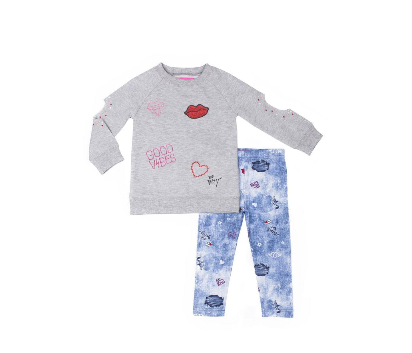 CITY GIRL TODDLER TWO PIECE SET GREY - APPAREL - Betsey Johnson