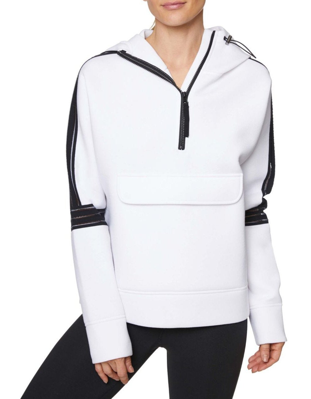 CLEAR TAPING HALF ZIP PULLOVER WHITE - APPAREL - Betsey Johnson