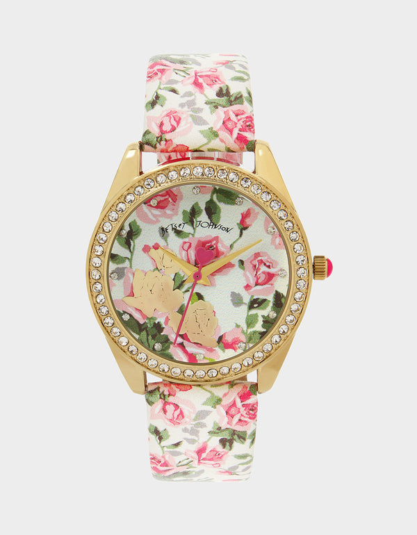 CLIMBING ROSES WATCH PINK MULTI - JEWELRY - Betsey Johnson