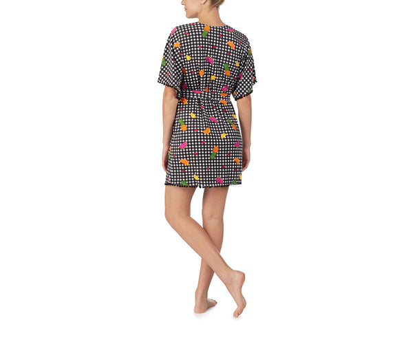 COCKTAILS AND COCONUTS ROBE BLACK MULTI - APPAREL - Betsey Johnson
