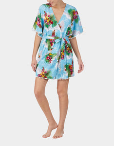 COCKTAILS AND COCONUTS ROBE BLUE MULTI