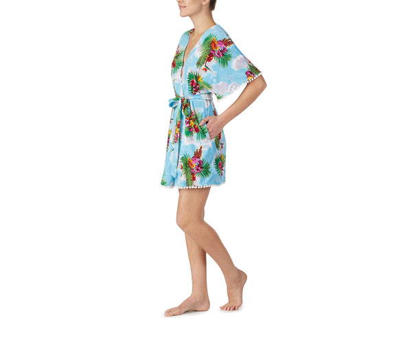 COCKTAILS AND COCONUTS ROBE BLUE MULTI - APPAREL - Betsey Johnson