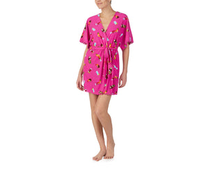 COCKTAILS AND COCONUTS ROBE PINK MULTI