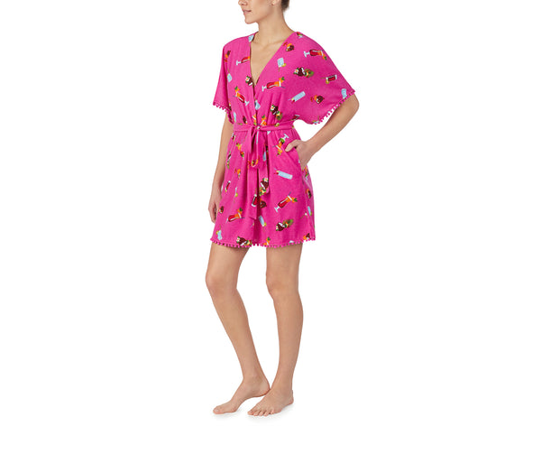 COCKTAILS AND COCONUTS ROBE PINK MULTI - APPAREL - Betsey Johnson