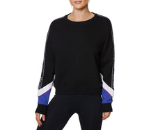 COLORBLOCK LOGO BAND SWEATSHIRT BLACK BLUE - APPAREL - Betsey Johnson