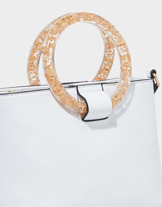 CONFETTI RINGS TOP ZIP BAG WHITE