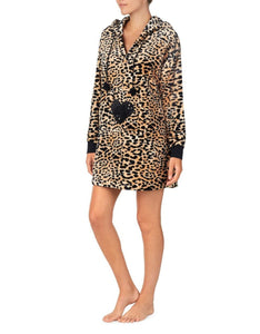 COZY TIME PLUSH TUNIC LEOPARD