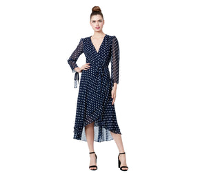 CRAZY FOR DOTS WRAP DRESS NAVY