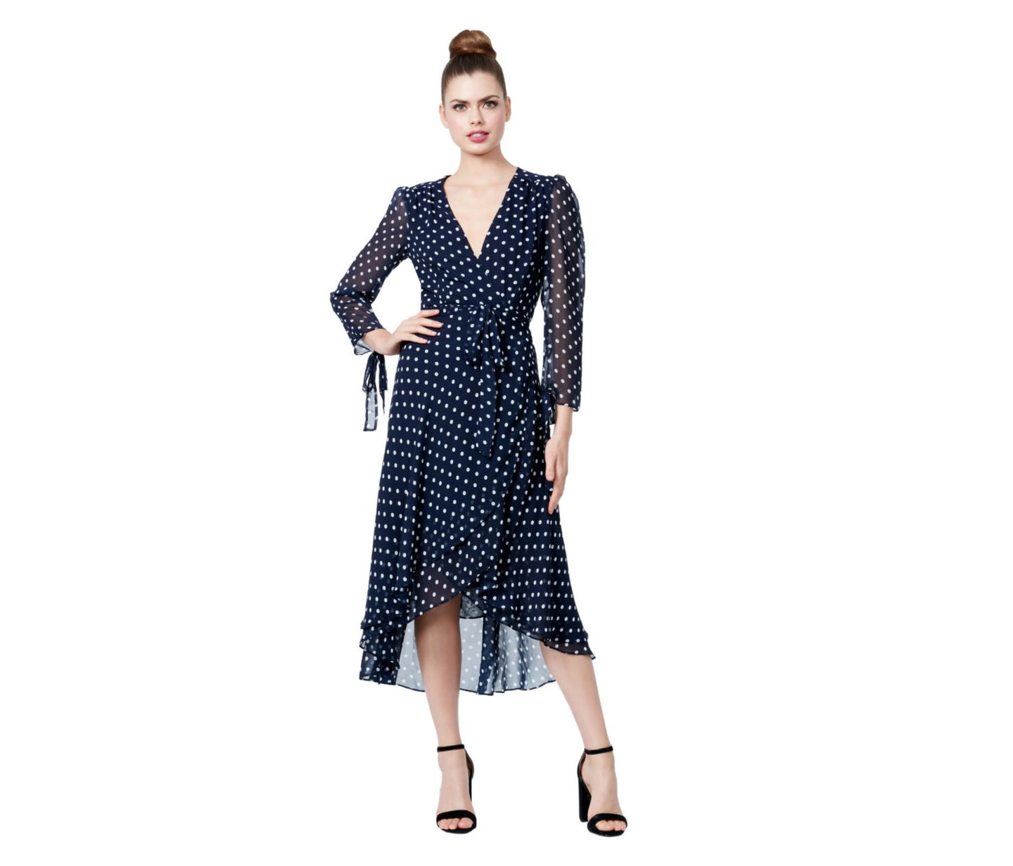 CRAZY FOR DOTS WRAP DRESS NAVY - APPAREL - Betsey Johnson