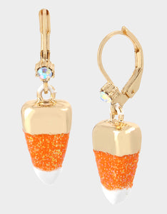 CREEP IT REAL CANDY CORN EARRINGS ORANGE