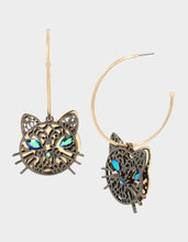 CREEP IT REAL CAT CONVERTIBLE EARRINGS TEAL - JEWELRY - Betsey Johnson