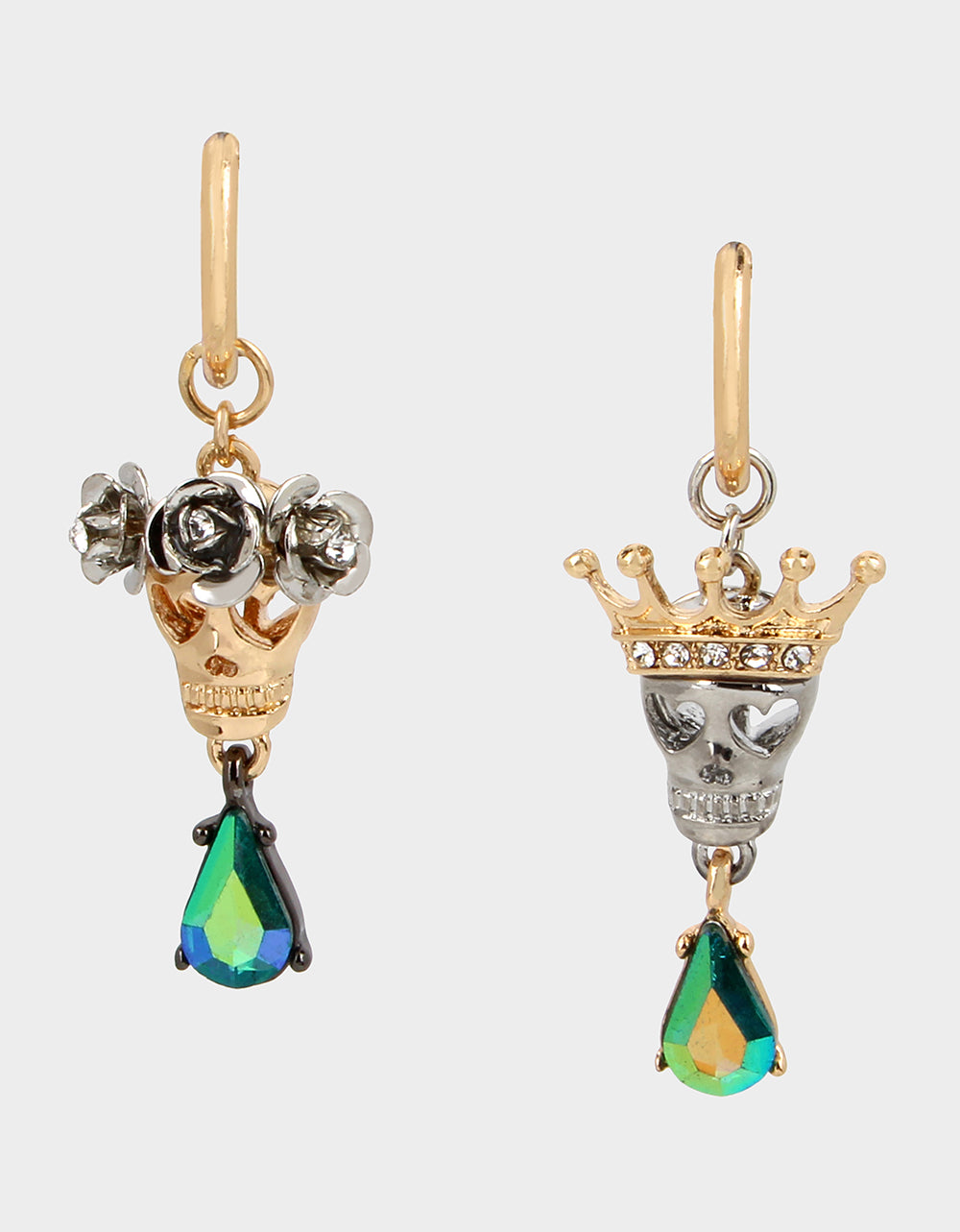 CREEP IT REAL KING QUEEN EARRINGS TEAL - JEWELRY - Betsey Johnson