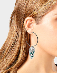 CREEP IT REAL SKULL CONVERTIBLE EARRINGS TEAL