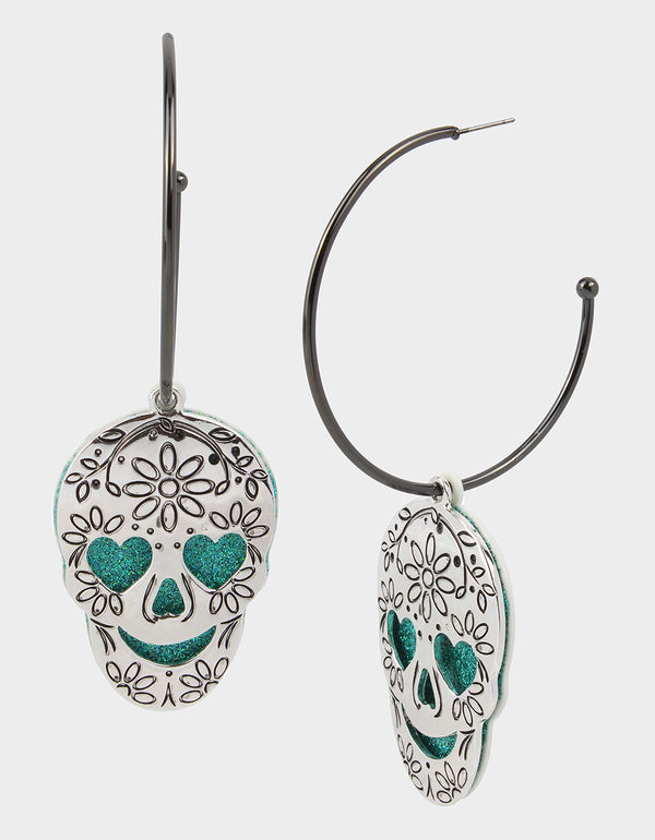 CREEP IT REAL SKULL CONVERTIBLE EARRINGS TEAL - JEWELRY - Betsey Johnson