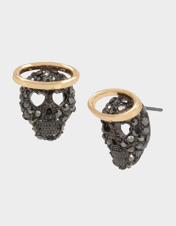 CREEP IT REAL SKULL STUDS GUNMETAL - JEWELRY - Betsey Johnson