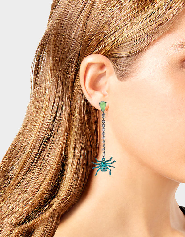 CREEP IT REAL SPIDER LINEAR EARRINGS TEAL - JEWELRY - Betsey Johnson