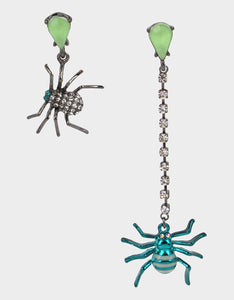 CREEP IT REAL SPIDER LINEAR EARRINGS TEAL