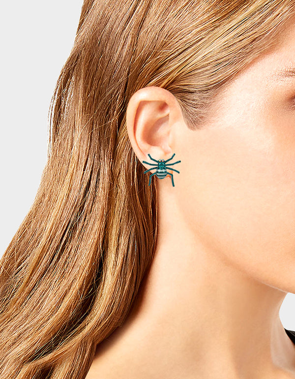 CREEP IT REAL SPIDER MISMATCH EARRINGS TEAL - JEWELRY - Betsey Johnson
