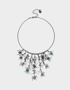 CREEP IT REAL STATEMENT NECKLACE TEAL