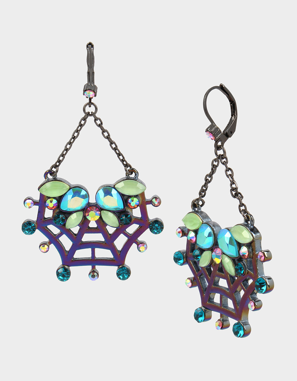 CREEP IT REAL WEB DROP EARRINGS TEAL - JEWELRY - Betsey Johnson