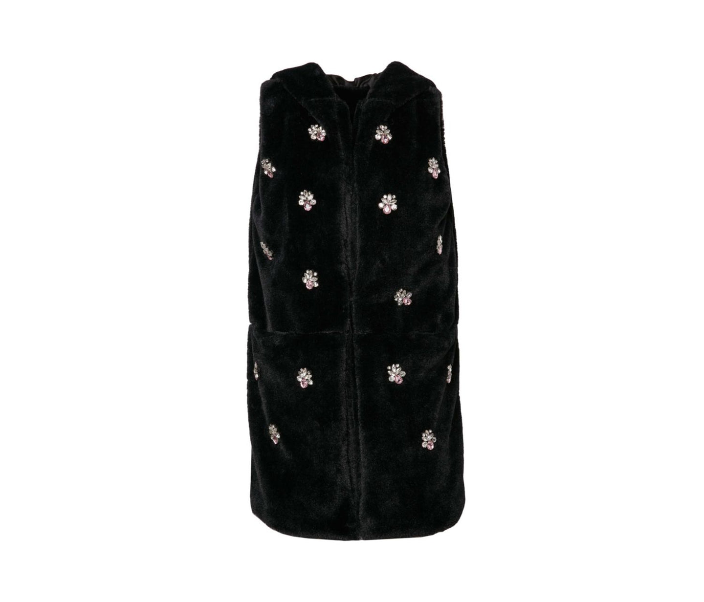 CRYSTAL CLEAR HOODED VEST BLACK - APPAREL - Betsey Johnson