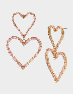 CRYSTAL CUTIES DOUBLE HEART EARRINGS PINK