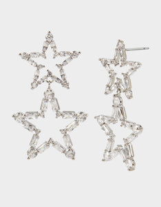 CRYSTAL CUTIES DOUBLE STAR EARRINGS CRYSTAL