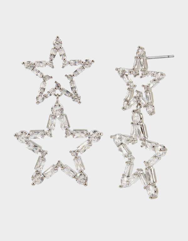 CRYSTAL CUTIES DOUBLE STAR EARRINGS CRYSTAL - JEWELRY - Betsey Johnson