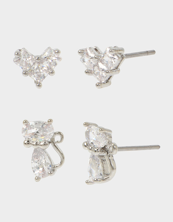 CRYSTAL CUTIES DUO STUD SET CRYSTAL - JEWELRY - Betsey Johnson