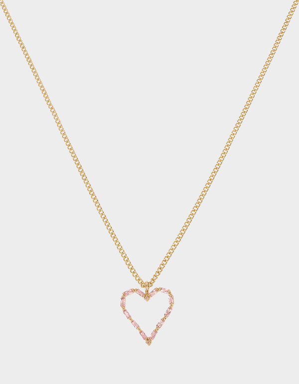CRYSTAL CUTIES HEART PENDANT PINK - JEWELRY - Betsey Johnson