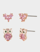 CRYSTAL CUTIES OWL DUO STUD SET PINK - JEWELRY - Betsey Johnson