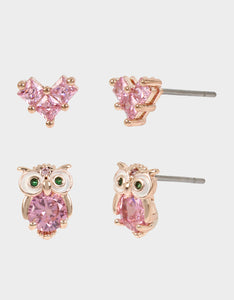 CRYSTAL CUTIES OWL DUO STUD SET PINK