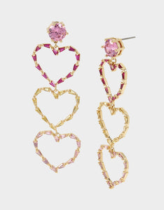 CRYSTAL CUTIES TRIPLE HEART EARRINGS MULTI