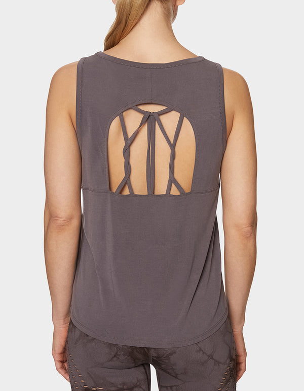 CUPRO TWISTED STRAP TANK GREY - APPAREL - Betsey Johnson