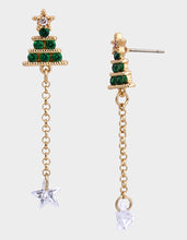 CZ CAPSULE TREE LINEAR EARRINGS GREEN - JEWELRY - Betsey Johnson
