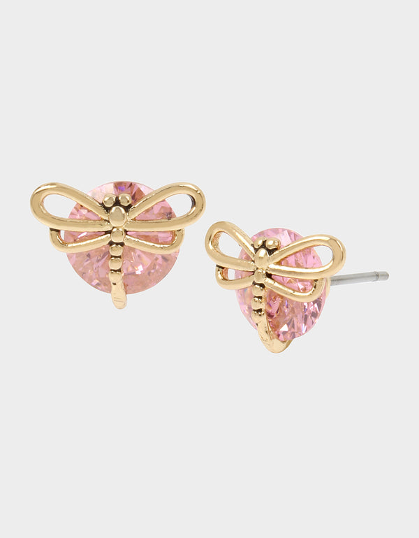 CZ DRAGONFLY STUD EARRINGS PINK - JEWELRY - Betsey Johnson