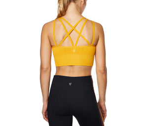 DEEP V CRISS CROSS SEAMLESS BRA MUSTARD