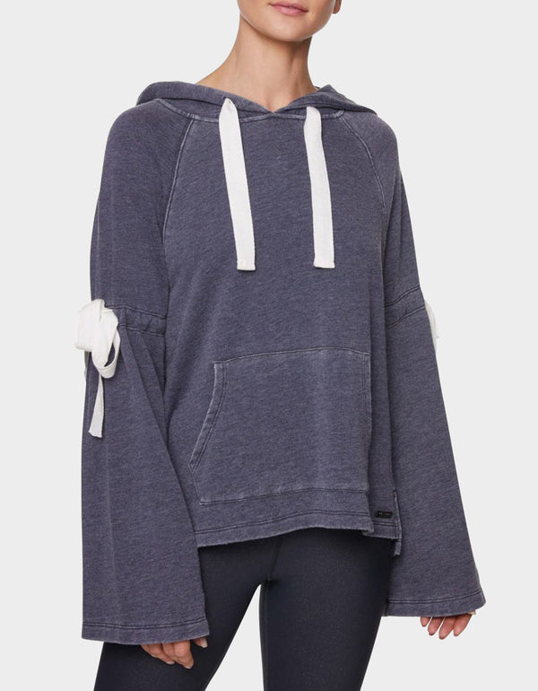 DISTRESSED BOW BELL SLEEVE SWEATSHIRT NAVY - APPAREL - Betsey Johnson