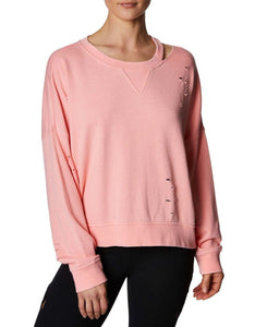 DISTRESSED FRENCH TERRY PULLOVER CORAL