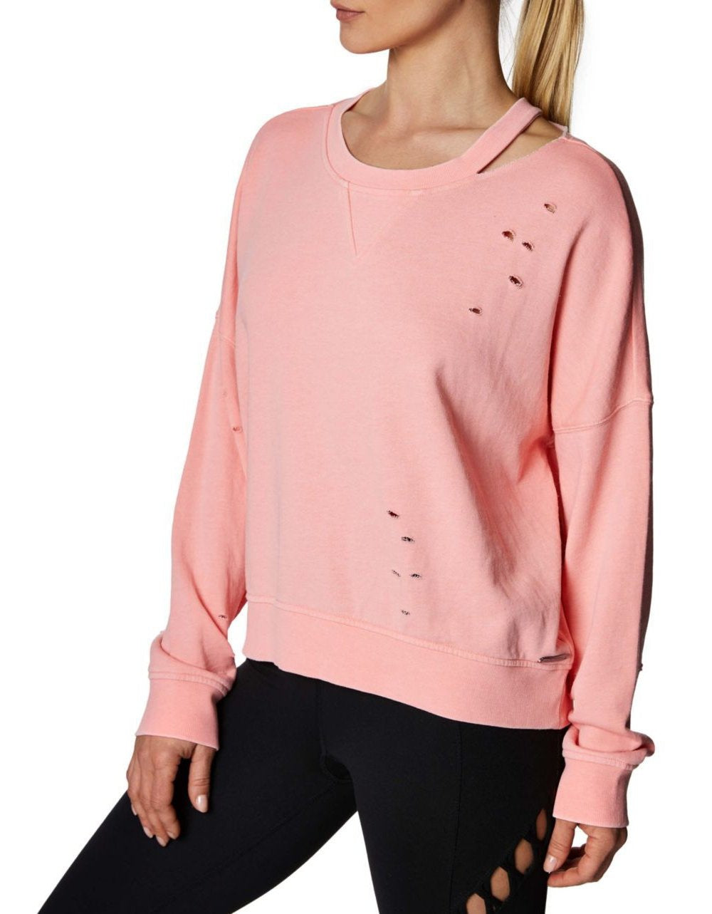 DISTRESSED FRENCH TERRY PULLOVER CORAL - APPAREL - Betsey Johnson