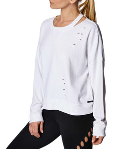 DISTRESSED FRENCH TERRY PULLOVER WHITE
