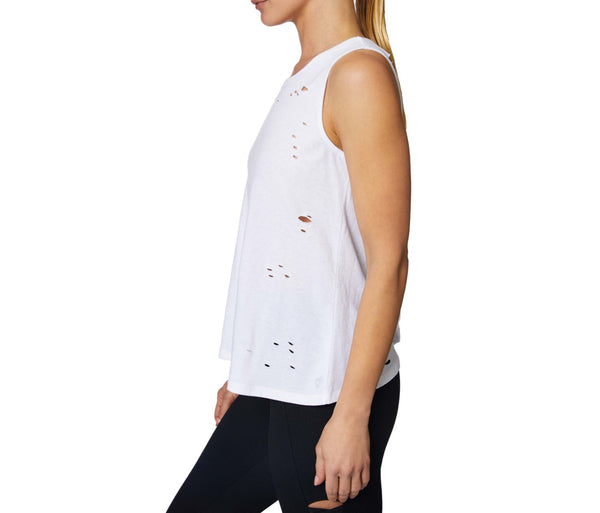 DISTRESSED LACE UP RACERBACK TANK WHITE - APPAREL - Betsey Johnson