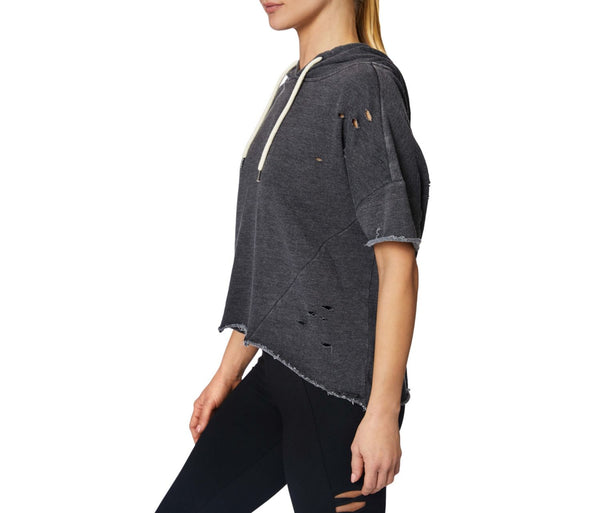 DISTRESSED SHORT SLEEVE HOODIE BLACK - APPAREL - Betsey Johnson